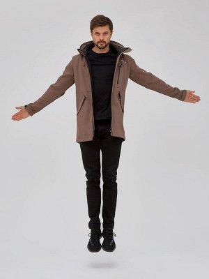 Мужская осенняя весенняя парка softshell коричневого цвета 2018K