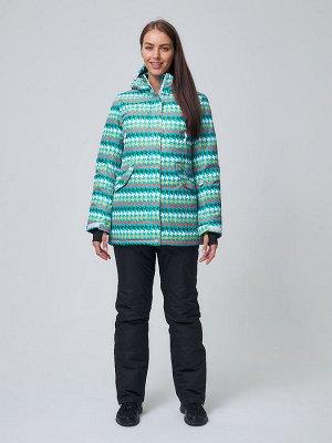 Женский зимний горнолыжный костюм бирюзового цвета 01937Br