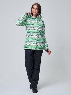 Женский зимний горнолыжный костюм салатового цвета 01937Sl