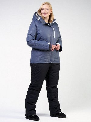 Женский зимний костюм горнолыжный большого размера синего цвета 021982S