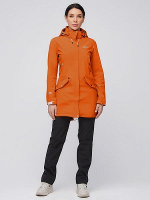 Женский осенний весенний костюм спортивный softshell оранжевого цвета 02026O