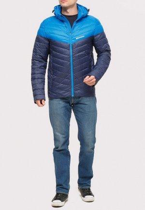 Мужская осенняя весенняя спортивная куртка стеганная темно-синего цвета 1853TS