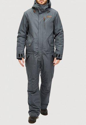 Мужской зимний комбинезон темно-серого цвета 18126TC
