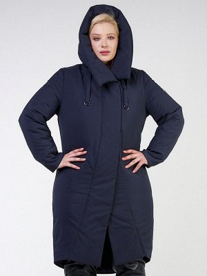 Куртка зимняя женская классическая темно-синего цвета 118-932_15TS