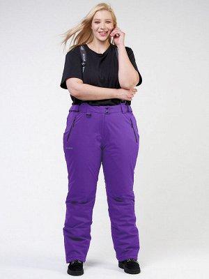 Женские зимние горнолыжные брюки большого размера фиолетового цвета 1878F