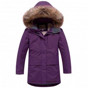 Парка зимняя для девочки Valianly фиолетового цвета 9038F