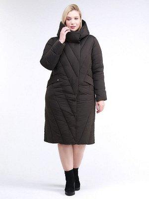 Женская зимняя классика куртка с капюшоном коричневого цвета 191949_09K