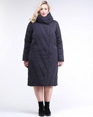 Женская зимняя классика куртка с капюшоном темно-синего цвета 191949_02TS