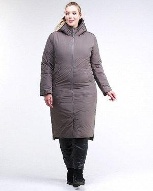 Женская зимняя классика куртка большого размера коричневого цвета 112-919_48K