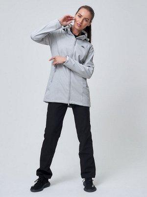 Женский осенний весенний костюм спортивный softshell светло-серого цвета 02037SS