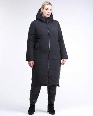 Женская зимняя классика куртка большого размера черного цвета 112-919_701Ch
