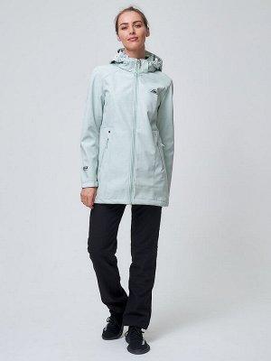 Женский осенний весенний костюм спортивный softshell бирюзового цвета 02037Br