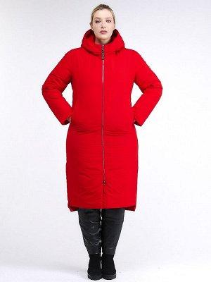 Женская зимняя классика куртка большого размера красного цвета 112-919_7Kr