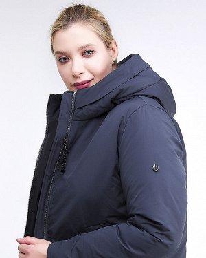 Женская зимняя классика куртка большого размера темно-синего цвета 112-919_123TS