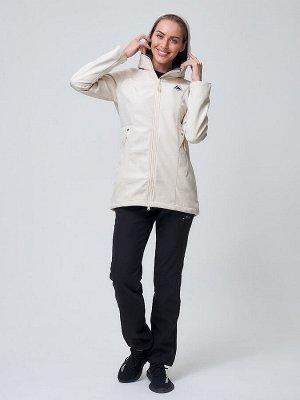 Женский осенний весенний костюм спортивный softshell бежевого цвета 02037B