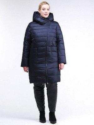 Женская зимняя классика куртка с капюшоном темно-синего цвета 1968_02TS