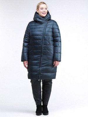 Женская зимняя классика куртка с капюшоном болотного цвета 1968_20Bt