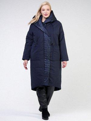 Женская зимняя классика куртка большого размера темно-синего цвета 118-931_15TS