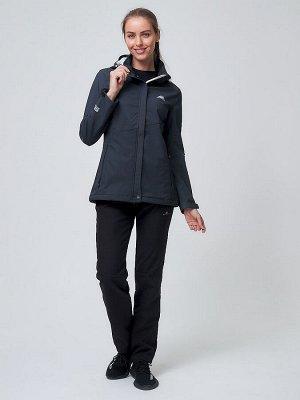Женский осенний весенний костюм спортивный softshell темно-серого цвета 02038TC