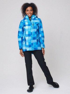 Женский осенний весенний костюм спортивный softshell синего цвета 01923S