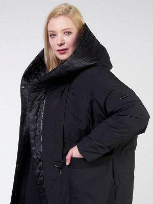Женская зимняя классика куртка большого размера черного цвета 118-931_701Ch