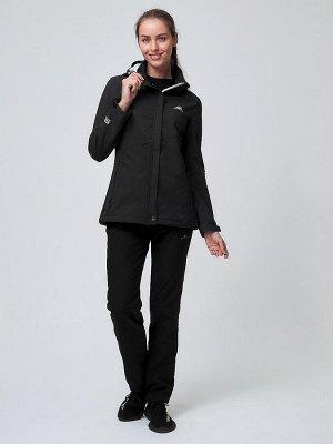 Женский осенний весенний костюм спортивный softshell черного цвета 02038Ch