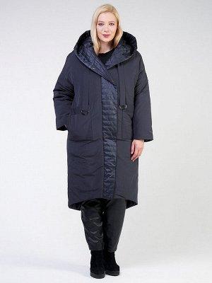 Женская зимняя классика куртка большого размера темно-серого цвета 118-931_123TC