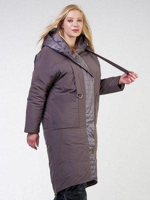 Женская зимняя классика куртка большого размера коричневого цвета 118-931_36K