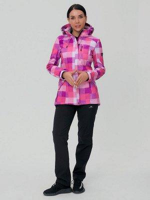 Женский осенний весенний костюм спортивный softshell розового цвета 01923R