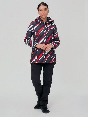 Женский осенний весенний костюм спортивный softshell красного цвета 01923-1Kr