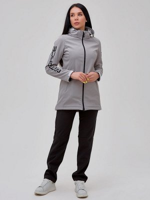 Женский осенний весенний костюм спортивный softshell серого цвета 02023Sr