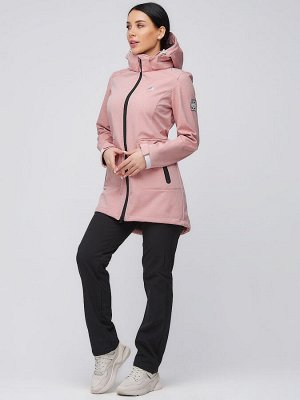 Женский осенний весенний костюм спортивный softshell персикового цвета 02028P