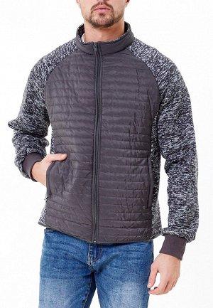 Мужская осенняя весенняя молодежная куртка стеганная темно-серого цвета 1961TC