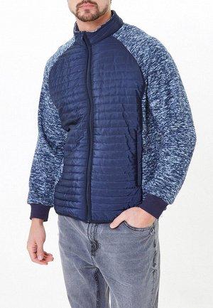 Мужская осенняя весенняя молодежная куртка стеганная темно-синего цвета 1961TS