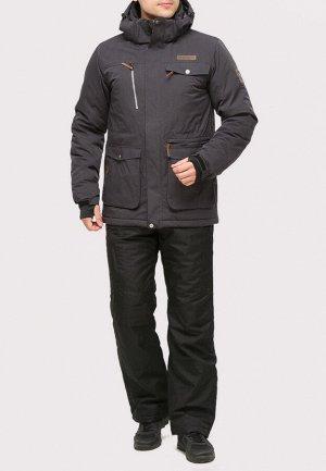 Мужской зимний костюм горнолыжный темно-серого цвета 01910TC