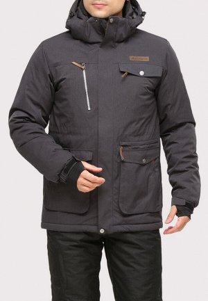 Мужская зимняя горнолыжная куртка темно-серого цвета 1910TC