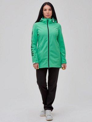 Женский осенний весенний костюм спортивный softshell зеленого цвета 02023Z