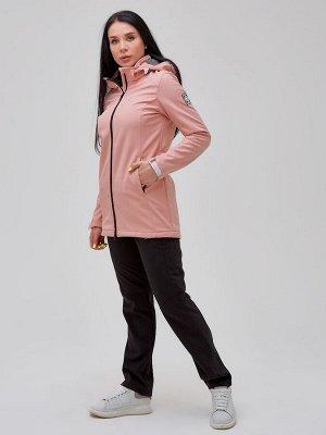 Женский осенний весенний костюм спортивный softshell персикового цвета 02023P