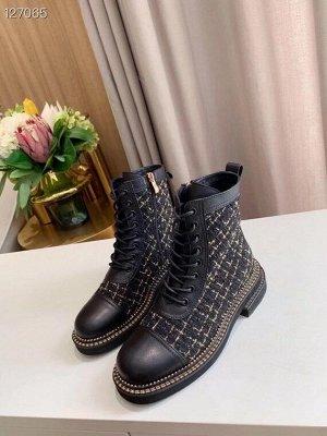 Ботинки Нат.кожа,отделка текстиль