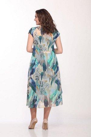 Платье Платье Bonna Image 437 акварель  Состав: ПЭ-100%; Сезон: Лето Рост: 164  Воздушное, летнее платье, выполнено из шифона. Платье полуприлегающего силуэта. Горловина лодочка с небольшой качелью.