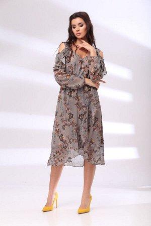 Платье Платье Bonna Image 1017  Состав: ПЭ-100%; Сезон: Лето Рост: 164  Элегантное женское платье полуприлегающего силуэта выполнено из легкой шифоновой ткани. Платье отрезное по линии талии с имитац