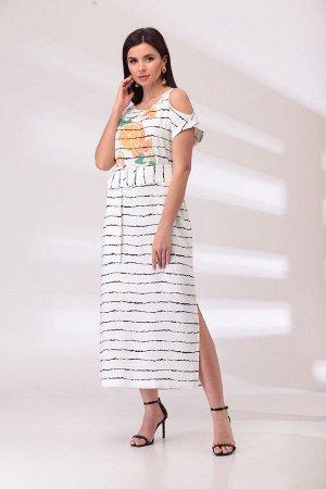 Платье Платье Bonna Image 1022  Состав: Вискоза-65%; ПЭ-35%; Сезон: Лето Рост: 164  Стильное женское платье выполнено из штапельной ткани. Платье ассиметричное по линии плеч, по переду на уровне груд
