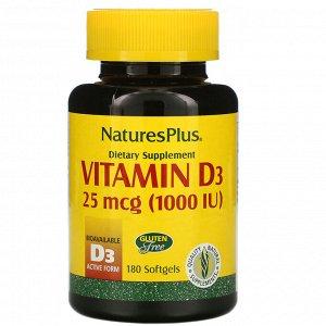 Nature&#x27 - s Plus, Витамин D3, 25 мкг (1000 МЕ), 180 капсул