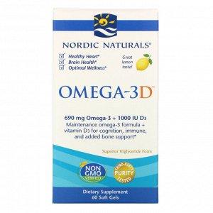 Nordic Naturals, Омега-3D, лимонный, 1000 мг, 60 мягких капсул