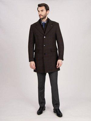 2061У M DK BROWN CHEK LUX/ Пальто мужское