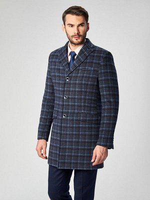 2062У M DK NAVY BLUE CHEK/ Пальто мужское