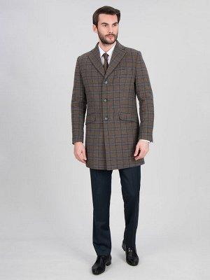 2062У M BEIGE BLUE CHEK/ Пальто мужское