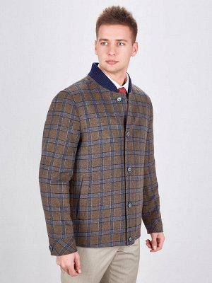 2073У S BEIGE BLUE CHECK/ Пальто мужское