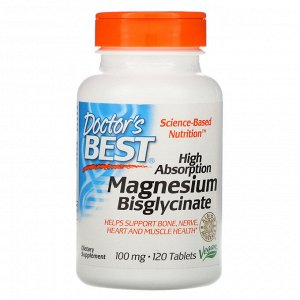 Doctor&#x27 - s Best, High Absorption Magnesium Bisglycinate, 100 mg, 120 Tablets