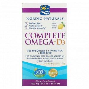 Nordic Naturals, Комплекс Омега-D3, лимон, 1000 мг, 60 мягких таблеток